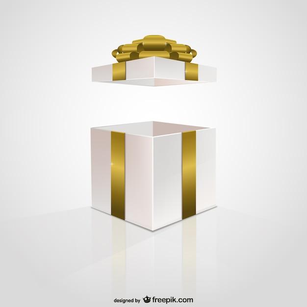 Золотая лента подарочная коробка Бесплатные векторы