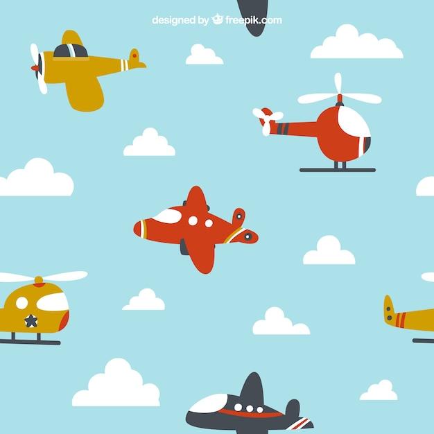 子どもたちのデザインのために飛んでいる漫画の飛行機 無料ベクター