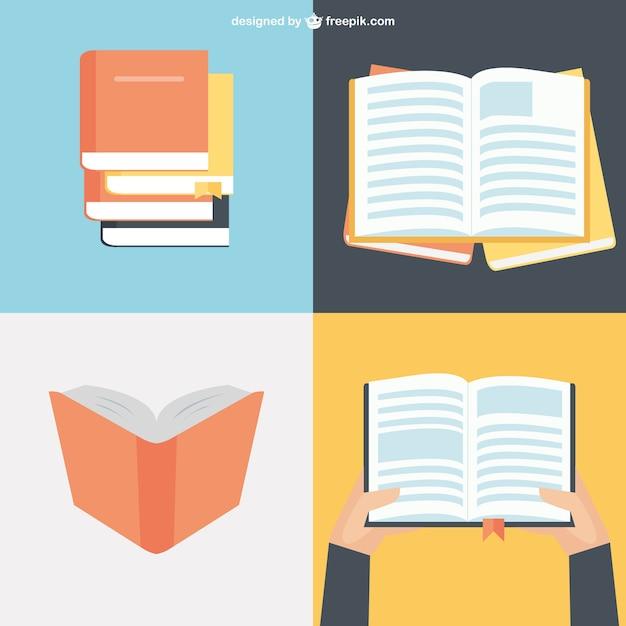 フラットデザインの本のコレクション 無料ベクター