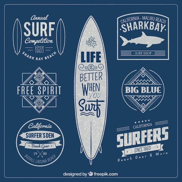 Surf значки Бесплатные векторы