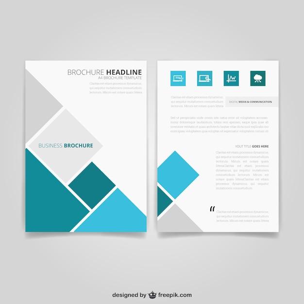 四角のビジネスのパンフレット 無料ベクター