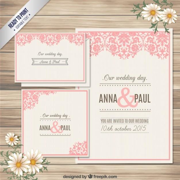 装飾用の結婚式の招待状カード 無料ベクター