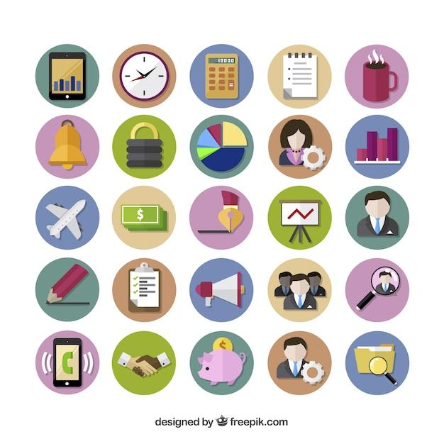 Цветные бизнес иконы Бесплатные векторы