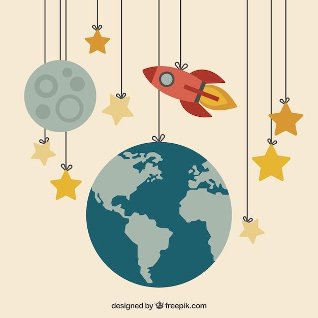 地球、月とロープにぶら下がっロケット 無料ベクター
