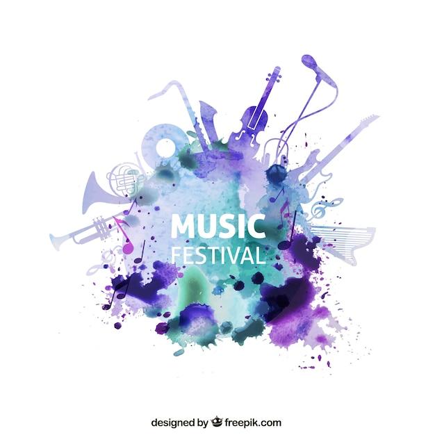 水彩画のスタイルで音楽祭 Premiumベクター