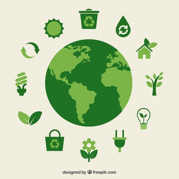 エコ地球と緑のアイコン Premiumベクター
