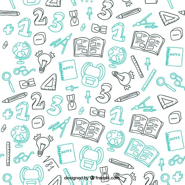 手描き学校材料パターン Premiumベクター