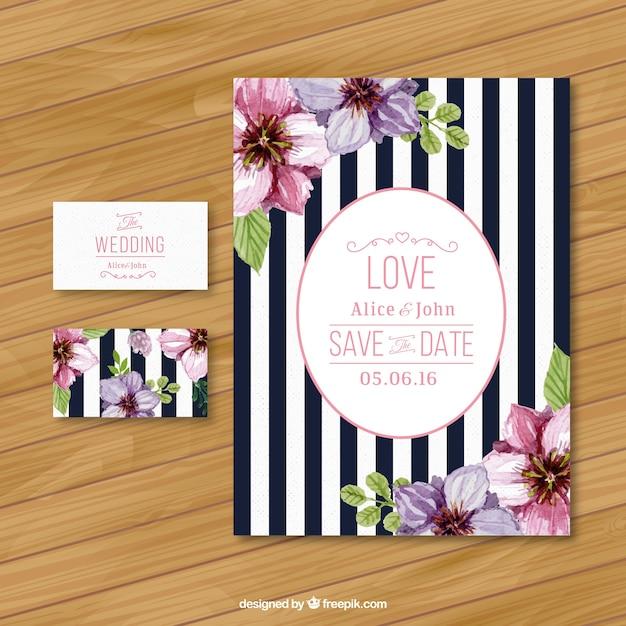ストライプの結婚式の招待状 Premiumベクター