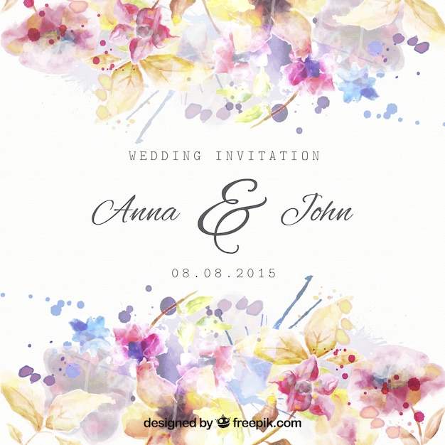 水彩画のスタイルで花の結婚式の招待状 Premiumベクター