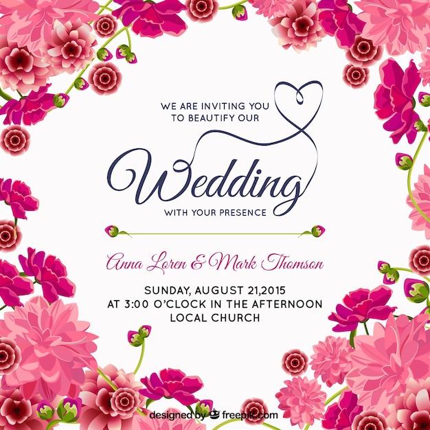 ピンクの花の結婚式の招待状 無料ベクター