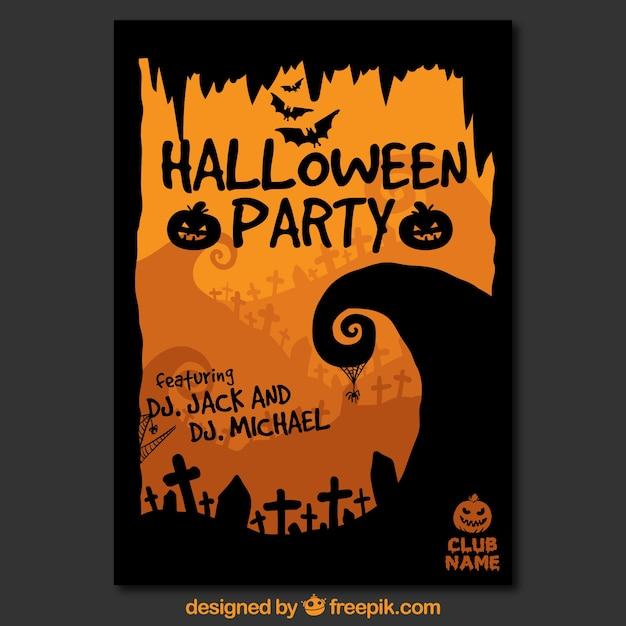 ハロウィーンパーティーポスターテンプレート ベクター画像 無料