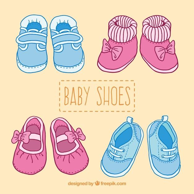 かわいい赤ちゃんの靴のイラスト 無料ベクター
