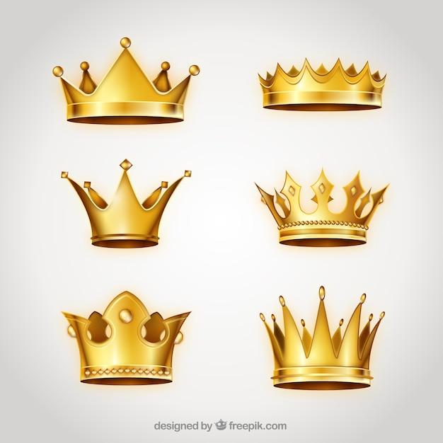 黄金の王冠のコレクション 無料ベクター