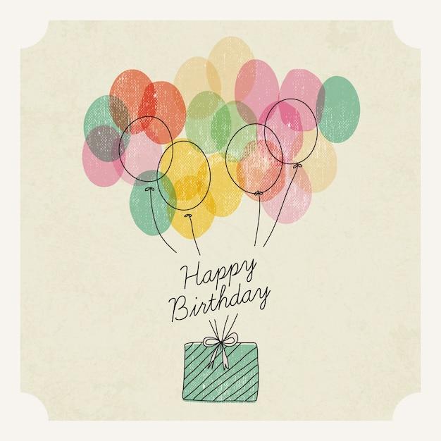 風船と水彩画の誕生日プレゼント Premiumベクター