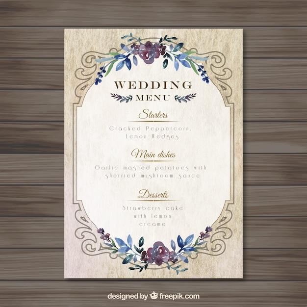 vintag結婚式のメニューテンプレート ベクター画像 無料ダウンロード