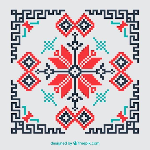 Геометрические красной вышивки крестом и черный фон Бесплатные векторы