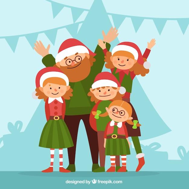 Счастливая семья с Рождеством одежды иллюстрации Вектор ...: http://ru.freepik.com/free-vector/happy-family-with-christmas-clothes-illustration_827060.htm
