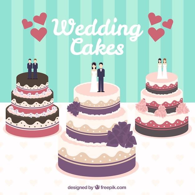 ウェディングケーキのイラスト 無料ベクター