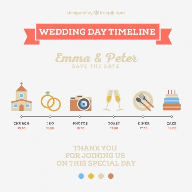 かわいい結婚式の日のタイムライン 無料ベクター