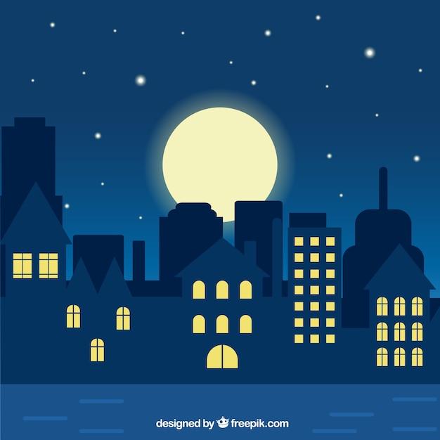 夜の街のイラスト ベクター画像