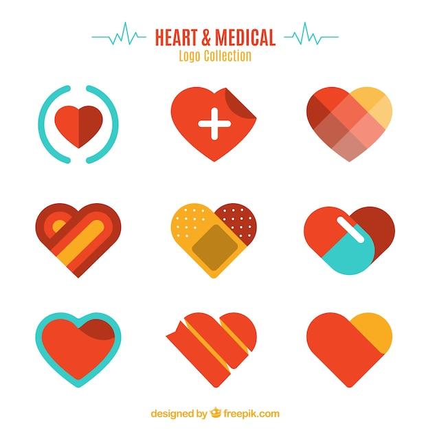 ハートと医療のロゴコレクション Premiumベクター