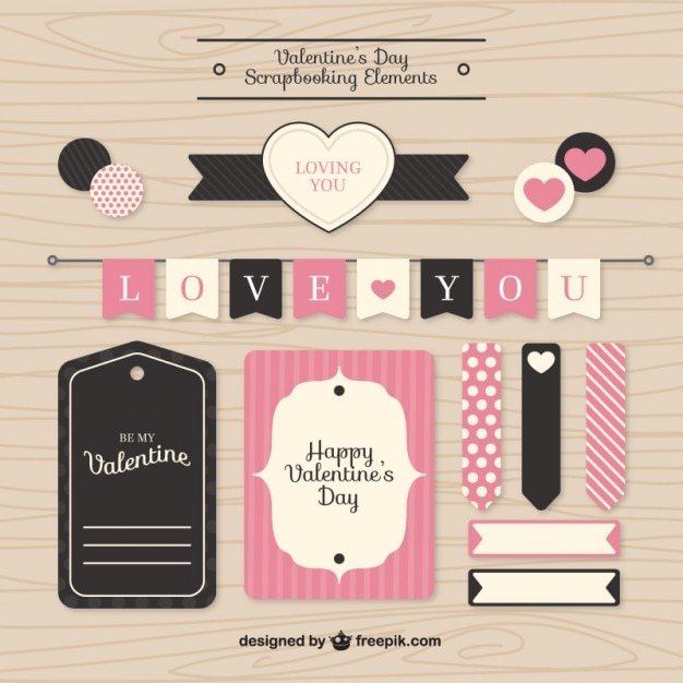 バレンタインスクラップブッキング要素 Premiumベクター