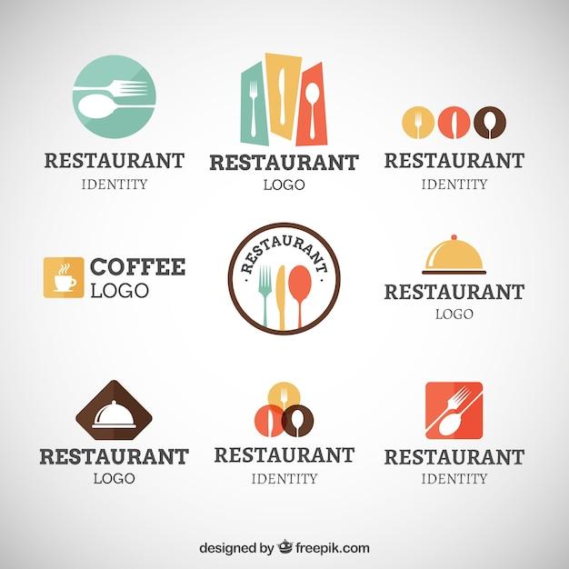 レストラン現代のロゴコレクション Premiumベクター