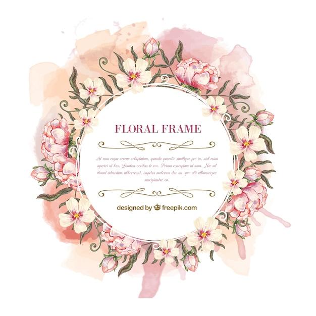水彩花の花輪フレーム Premiumベクター