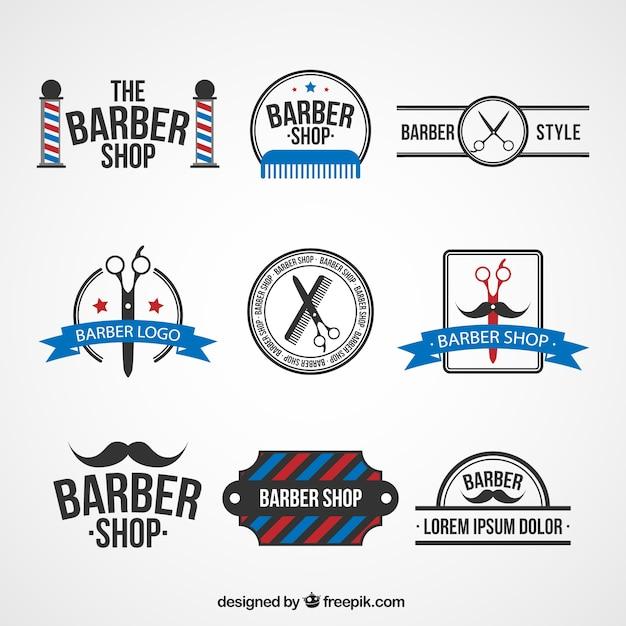 理髪店のロゴテンプレート 無料ベクター