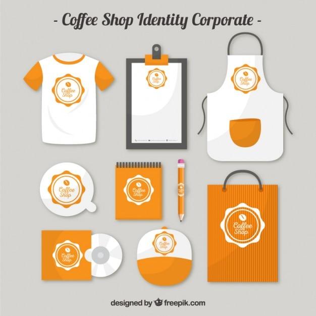 オレンジコーヒーショップindentityの企業 Premiumベクター