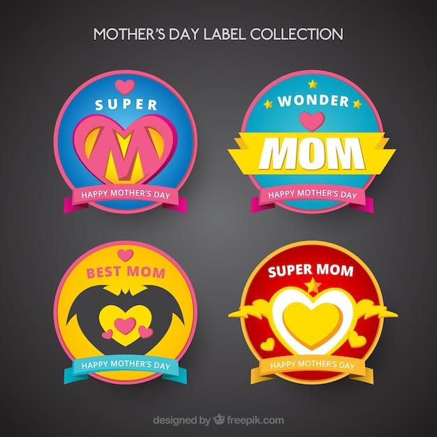 Коллекция этикеток день супергероев матери Бесплатные векторы