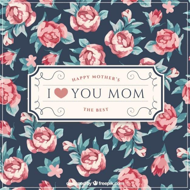 Элегантная матери день фон с милыми розами Бесплатные векторы