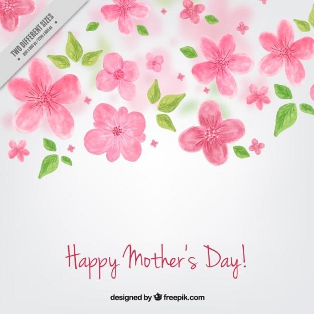 母の日の手描きの花の背景 無料ベクター