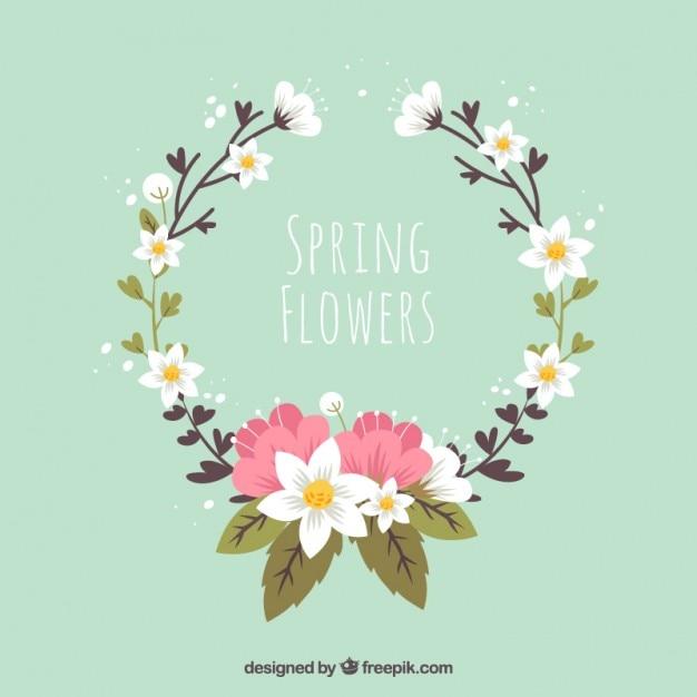 美しい花の花輪 無料ベクター