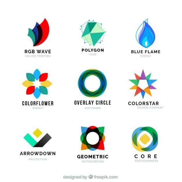 色付きの抽象的な形のロゴのコレクション Premiumベクター