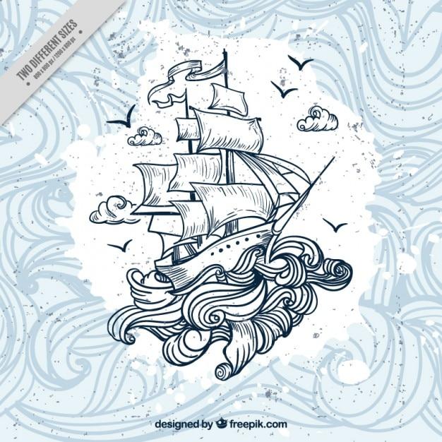 波の背景と手描きのボート 無料ベクター