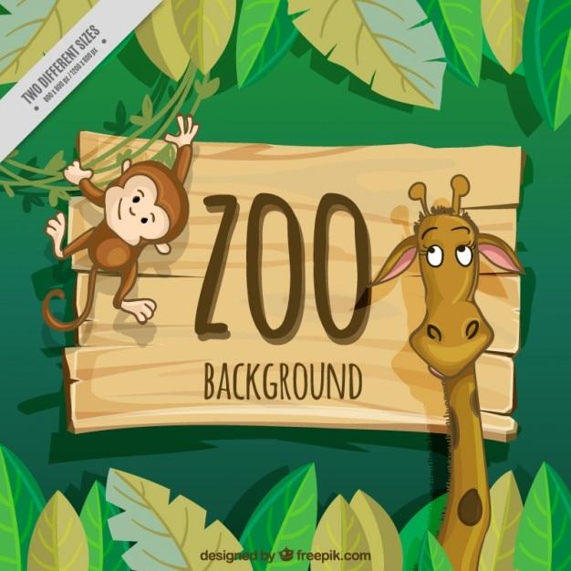 ニースキリンとサル動物園の背景 無料ベクター