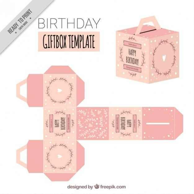 ピンクの誕生日のギフトボックステンプレート ベクター画像 無料