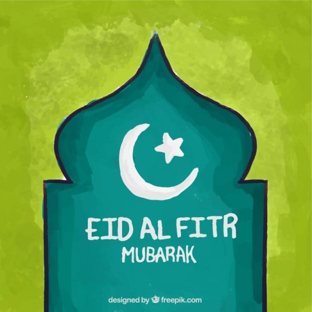 手描きの装飾用のムスリムの明けの背景 無料ベクター