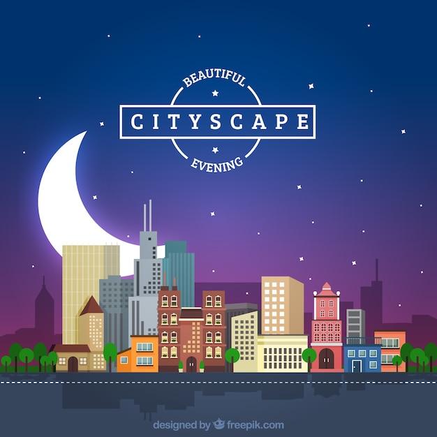 大きな月と夜の街並みの背景 無料ベクター