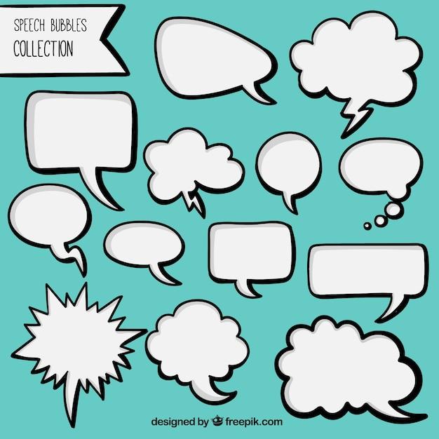手のパックには、白い漫画スピーチの泡を描か 無料ベクター