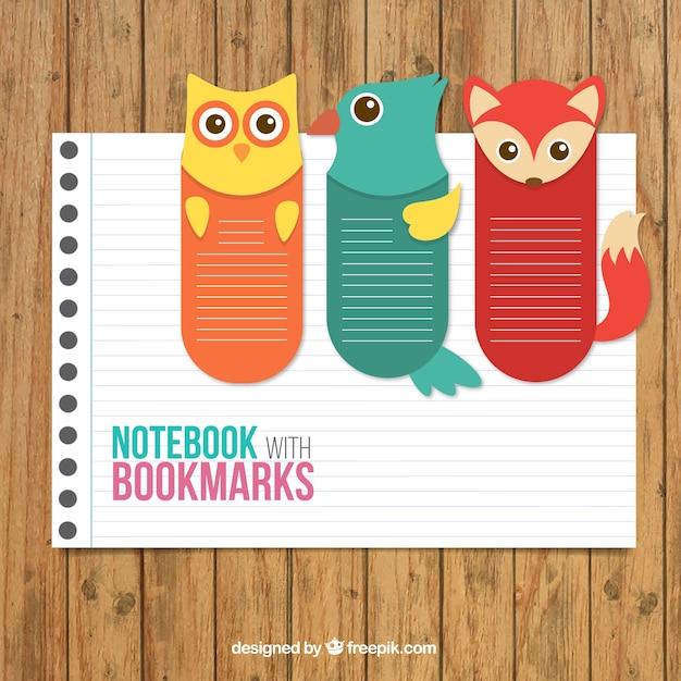 動物のブックマークとノートブック 無料ベクター