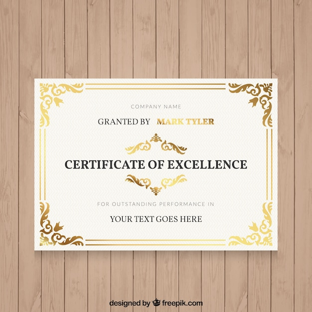 装飾用の詳細とエレガントな卒業証書 無料ベクター