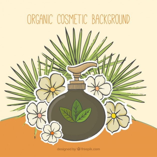 ヤシの葉と花のスケッチと自然化粧品の背景 無料ベクター