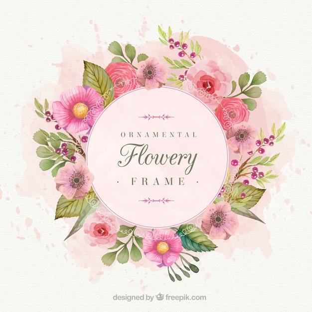 水彩画で描いたロマンチックな花のフレーム 無料ベクター