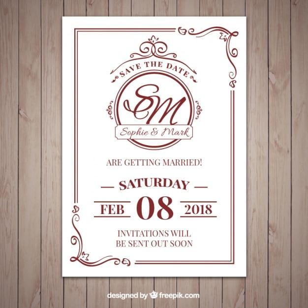 ニースの古典的なスタイルの結婚式の招待状 無料ベクター