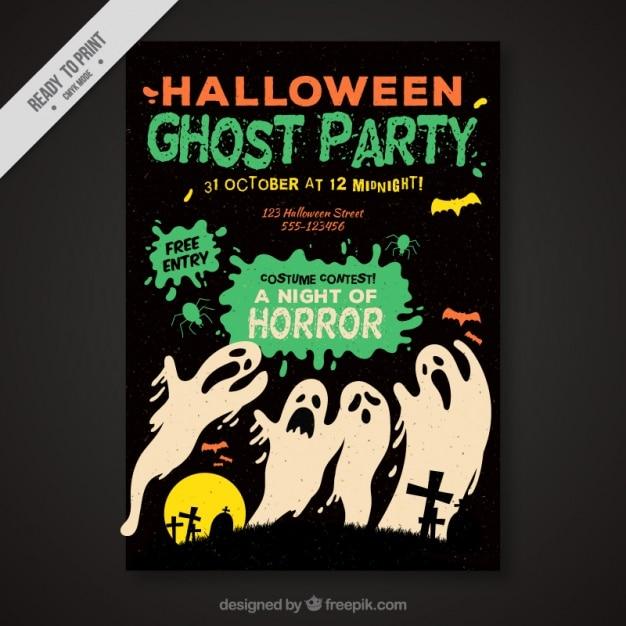 幽霊とヴィンテージハロウィンポスター ベクター画像 無料ダウンロード