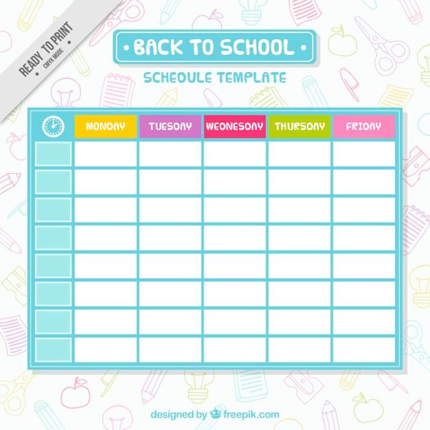 シンプルな学校のスケジュールテンプレート ベクター画像 無料ダウンロード