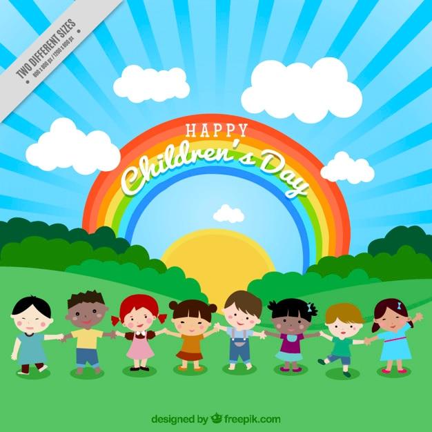 虹と自然の中で素敵な子どもたちの背景 無料ベクター