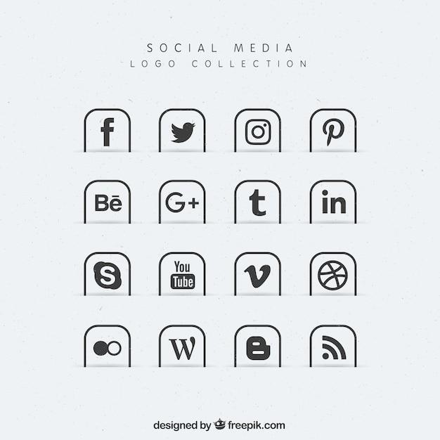ソーシャルメディアのアイコンのコレクション 無料ベクター